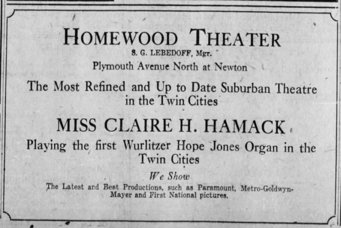 Newspaper advertisement for Claire Hamack, organist, at the Homewood Theater